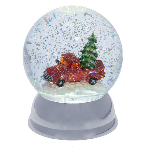 Lighted LED Truck with Tree Snow Globe