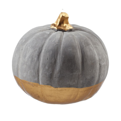 Medium Cement Pumpkin with Gold Bottom