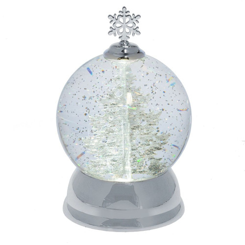 Lighted LED Silver Tree Snow Globe