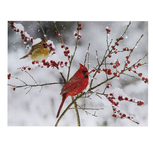 Red Cardinal Winter Scene  Battery Operated Lit Canvas