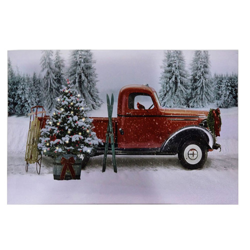 Red Truck Winter Scene  B/O Lit Canvas