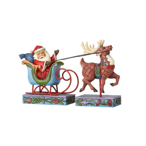 Jim Shore- Heartwood Creek - Santa in Sleigh (Set of 2) Figurine 406609