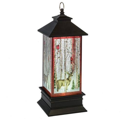 Deer With Cardinals Shimmer LED Lantern