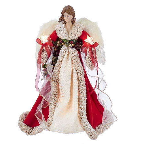 "16"" Red and Ivory Angel Tree Topper"