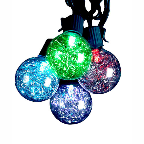 Silver Tinsel Color-Changing LED Ball Light Set