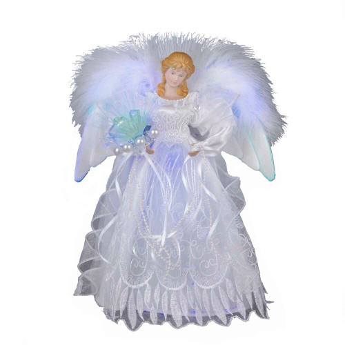 "12"" White and Silver Fiber Optic Angel Tree Topper"