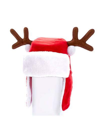 "12""  Adult Santa Hat With Antlers"