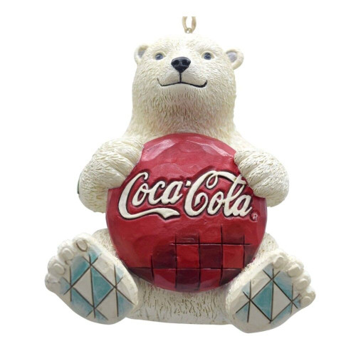 Jim Shore-Polar Bear Holding Coca-Cola Bottle Cap Ornament