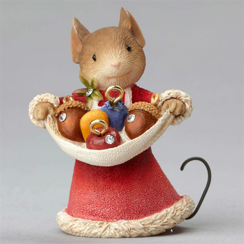 Heart of Christmas Mouse with Acorns Figurine