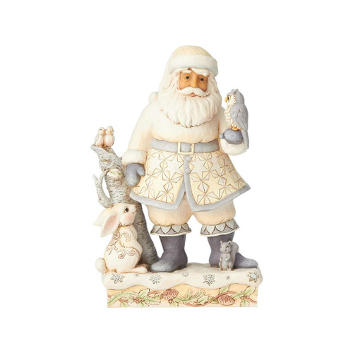 Jim Shore -Heartwood Creek - White Woodland Santa with Owl