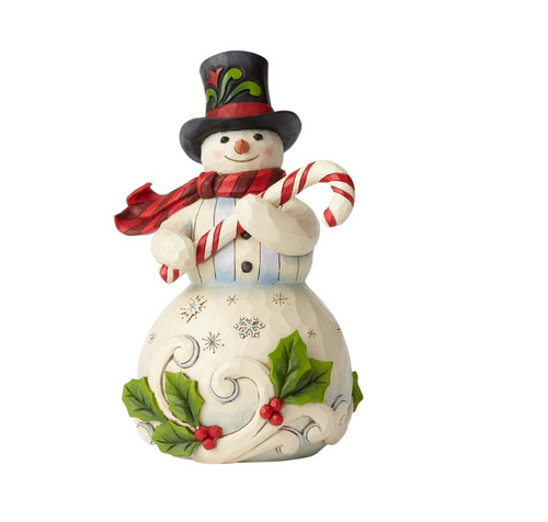 Jim Shore -Heartwood Creek - Snowman with Candy Cane 2018