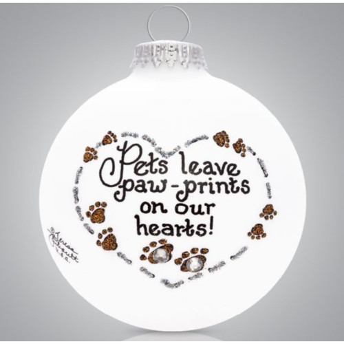 Heart Gifts by Teresa - USA Made - Pet Paw Prints Ornament