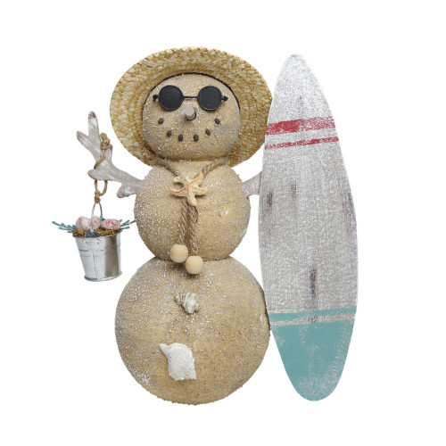Snowman with Surfboard and Shells