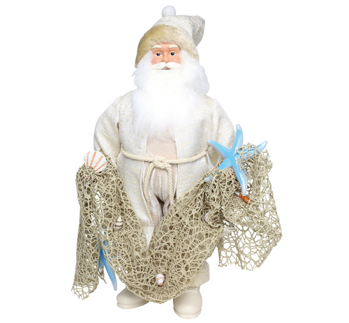 "18"" Coastal Santa with Fishing Net Figurine 2018"