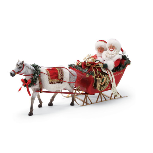 Department 56 - Clothtique Possible Dreams - One Horse Open Sleigh Santa Figurine 2018