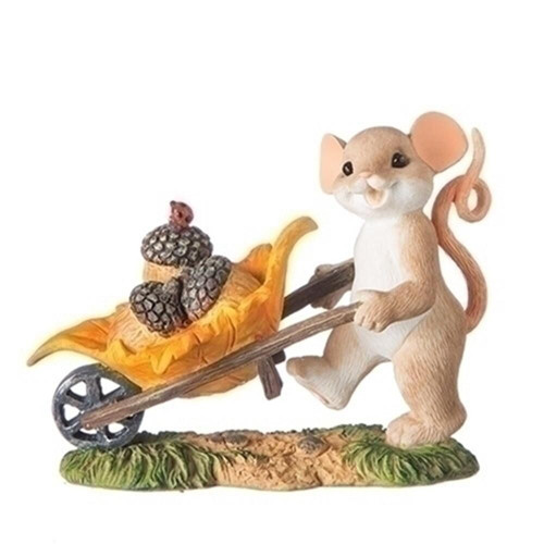 Charming Tails- Mouse with Harvest Wheelbarrow Figurine 131644