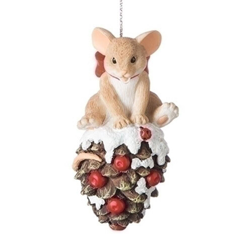 Charming Tails- Mouse on Pinecone Ornament 131631