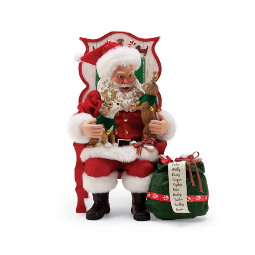 Department 56 - Clothtique Possible Dreams- Sit, Stay, Pose Santa Figurine 6000734