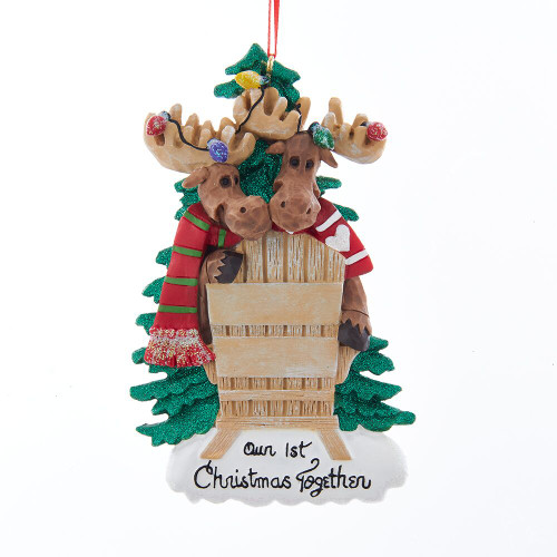 Moose Couple 1st Christmas Chair Personalizing Ornament