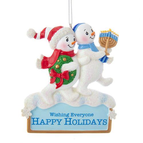 Hanukkah and Christmas Snowmen Ornament