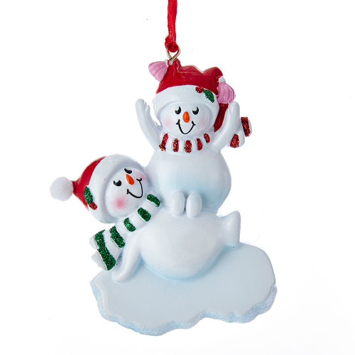 Stacked Snowman Family of 2 Personalizing Ornament