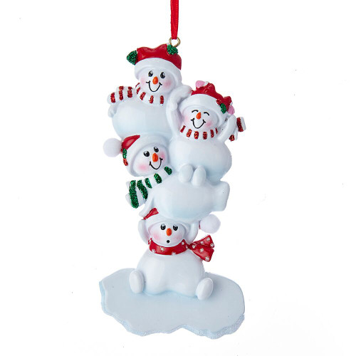 Stacked Snowman Family of 4 Personalizing Ornament