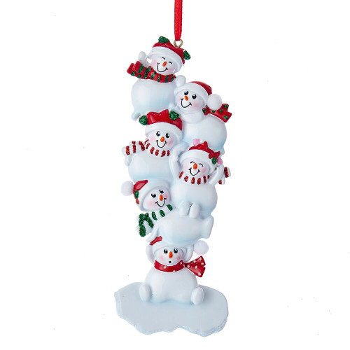 Stacked Snowman Family of 6 Personalizing Ornament