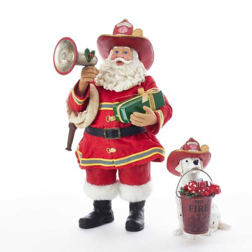 Kurt Adler Fabriche' Fireman Santa with Dalmatian Figurine Set of 2