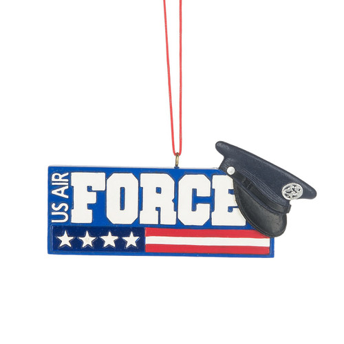 US Air Force Plaque Ornament, with Stars and Stripes and Hat