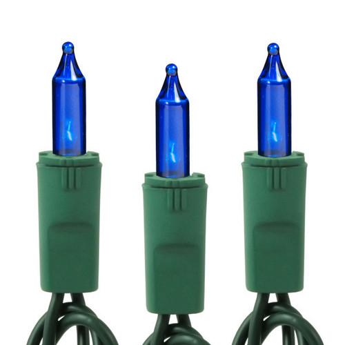 25Ft- BLUE LIGHT SET - 50 BULBS - GREEN WIRE