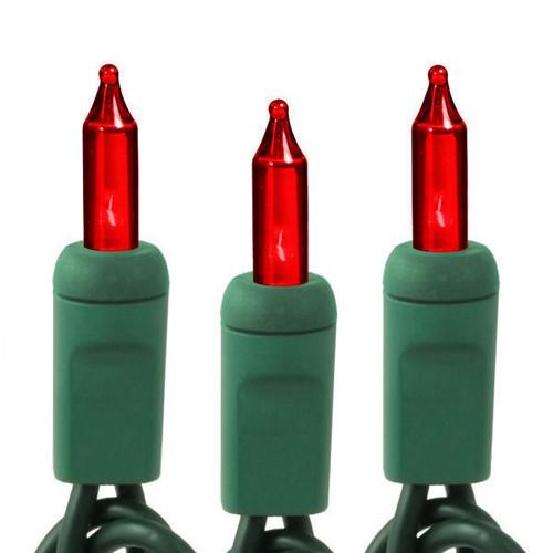 25Ft-  RED LIGHT SET - 50 BULBS - GREEN WIRE
