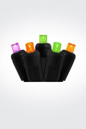 25 FT - ORANGE PURPLE LIME GREEN STRING LIGHTS - LED 5MM WIDE ANGLE (50 LEDS) -  ON BLACK WIRE