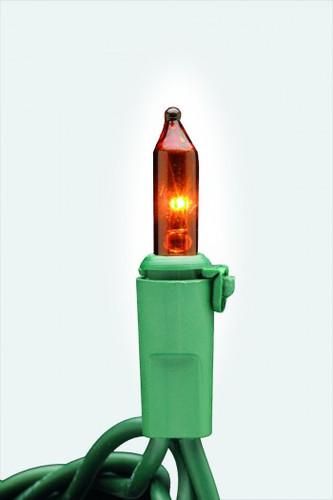 25 FT - AMBER ORANGE STRING LIGHTS - LED 5MM WIDE ANGLE (50 LEDS) -  ON GREEN WIRE