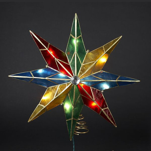 14 Inch Lighted 8-Point Capiz Multicolor Star Christmas Tree Topper
