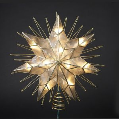"14"" 7-Point Natural Capiz Star Lighted Treetop"