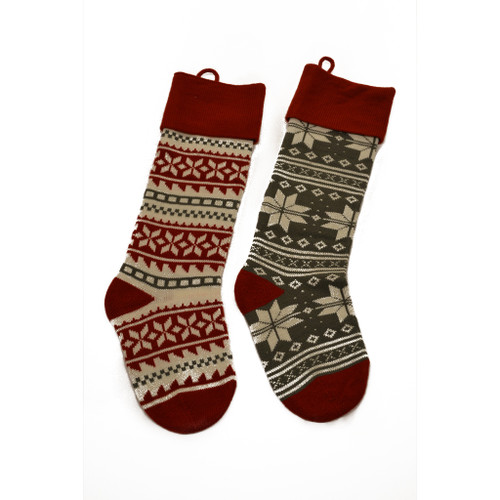 Traditional Red and Green Knit Christmas Stocking - Set of Two