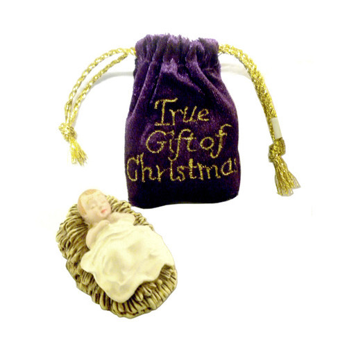 Baby Jesus in Purple Pull String Velvet Bag, The True Gift of Christmas
