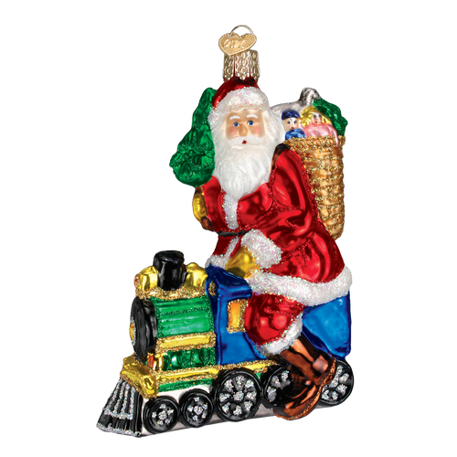 Old World Glass - Santa on Train Ornament