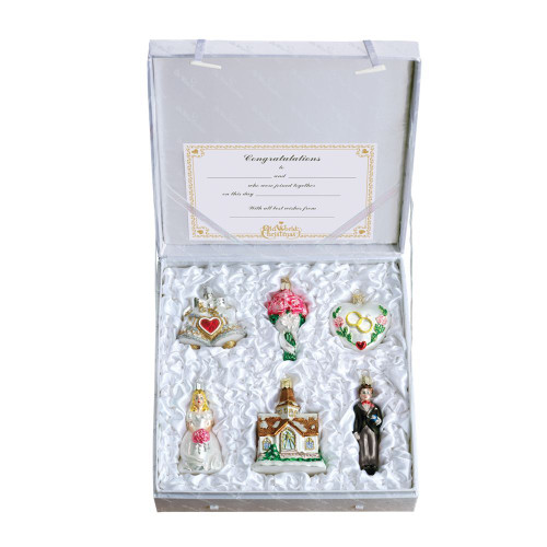 Old World Christmas Glass  - 6 Pc. Ornament Wedding Gift Box Set