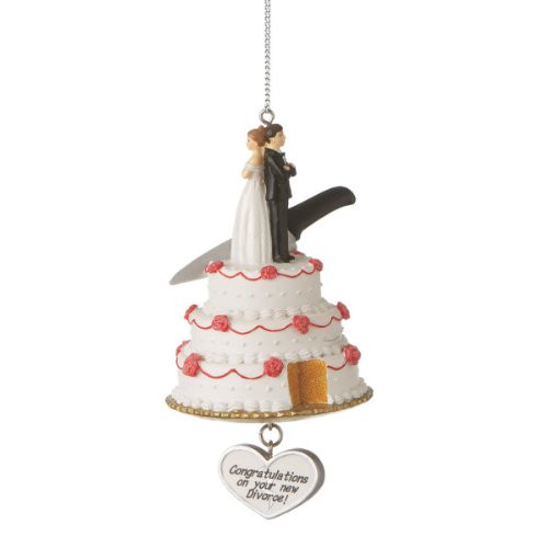 """Funny Wedding Cake with """"Congratulations on Your New Divorce"""" Christmas Ornament"""