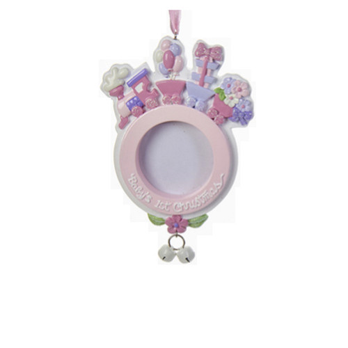 Personalizable - PINK Baby's First - Train on a Picture Frame Ornament