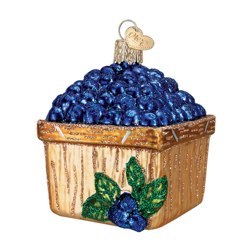 Old World Glass - Basket of Blueberries Ornament