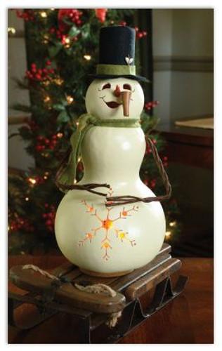Meadowbrooke Gourds- Medium Tall Lit Snowman