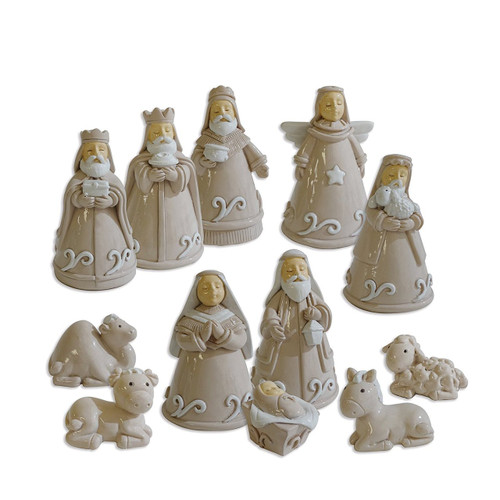 Reasons to Rejoice Cream Nativity Set of 12