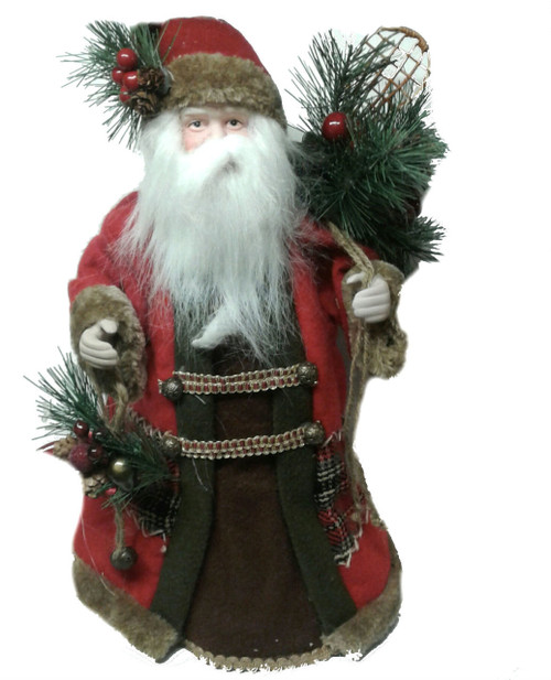 santa with pinecones tree topper the christmas loft