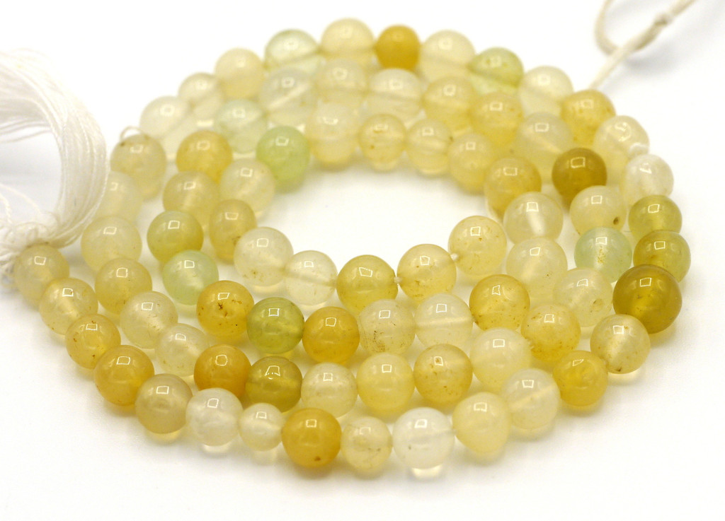 "14"" Strand Approx 5mm Yellow-Green Agate Hand-Cut Round Beads"