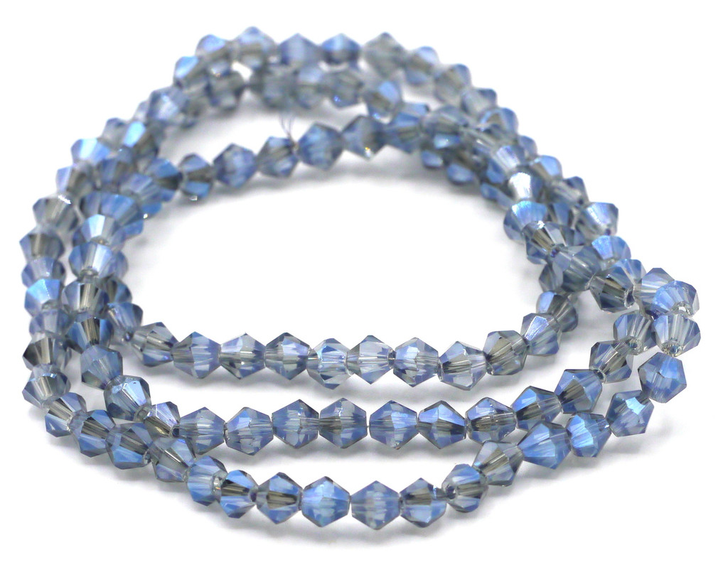 100+pc 4mm Crystal Bicone Beads, Steel Blue Shimmer