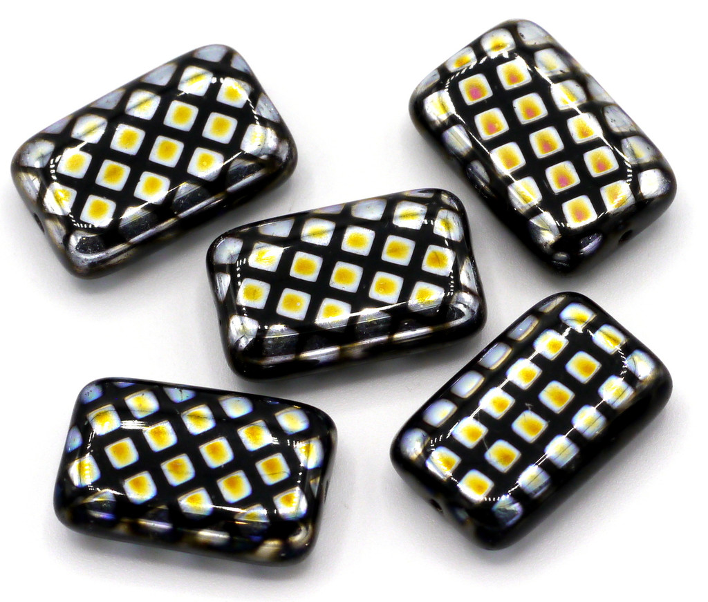 5pc 12x19mm Czech Glass Peacock Beads, Black With Marea Grid