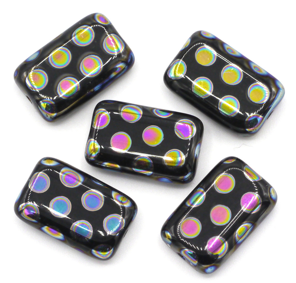 5pc 12x19mm Czech Glass Peacock Beads, Black With Vitrail Dots