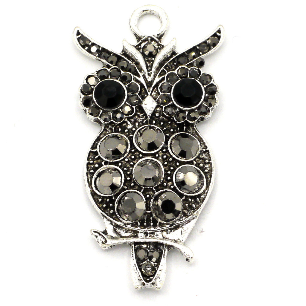 45mm Rhinestone Owl Pendant, Antique Silvertone